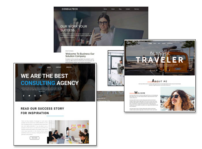 website hosting templates themes